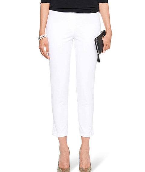 1 button cotton twill ankle pant White - Mary Walter