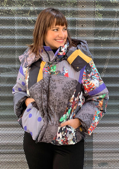 Mixed Graphics Puffer Coat - Mary Walter