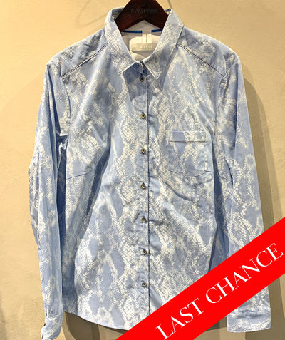 Print button up blouse blue/white size: 12