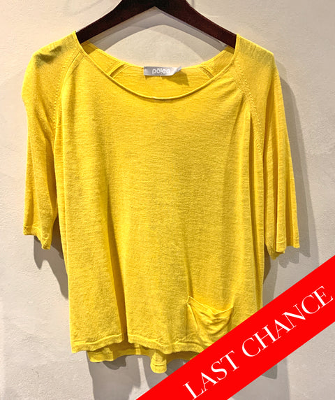 Short linen knit tee yellow size L