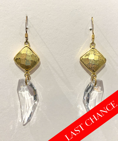 Pyrite and clear crystal earring
