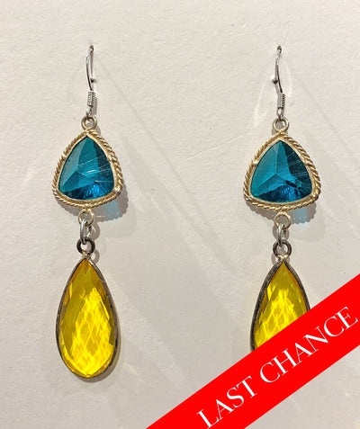 Teal and yellow crystal earring