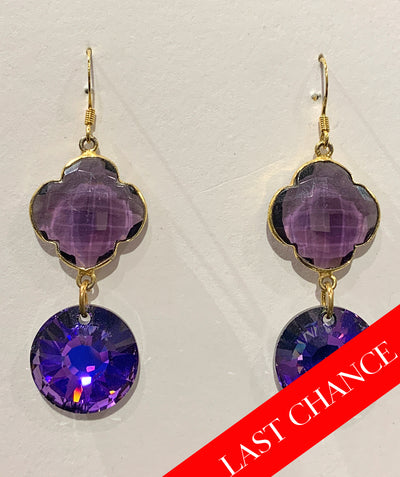 Amethyst and crystal earring