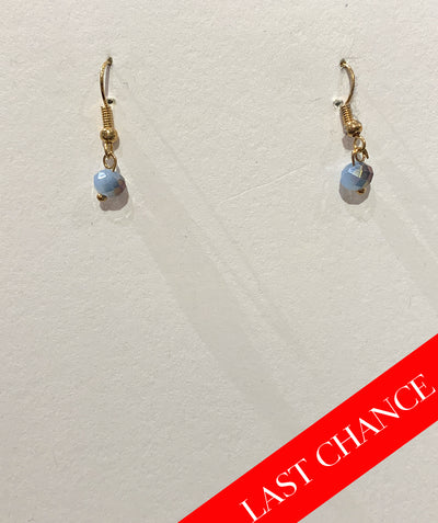 Tiny crystal earring dusty blue