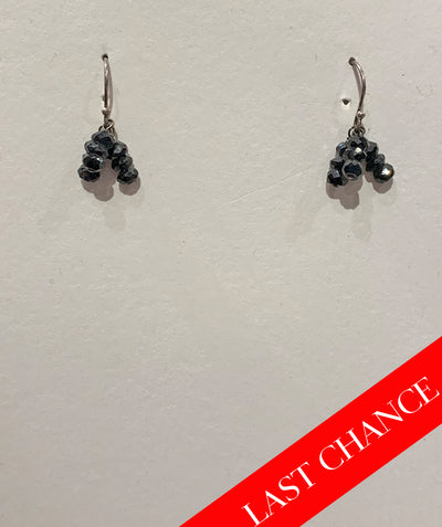 Delicate black spinel earring