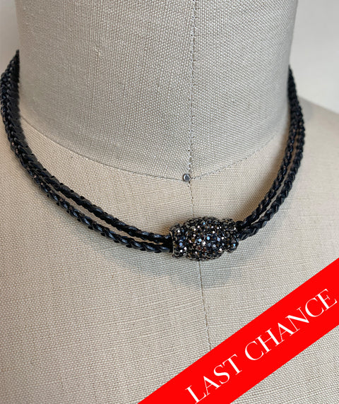 Crystal Accented Braid Necklace-Black