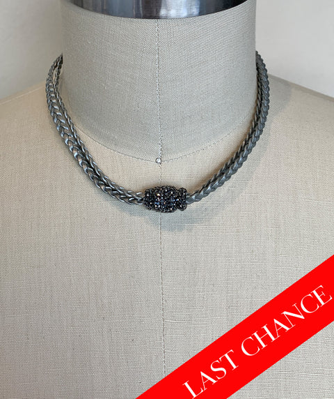 Crystal Accented Braid Necklace-Grey