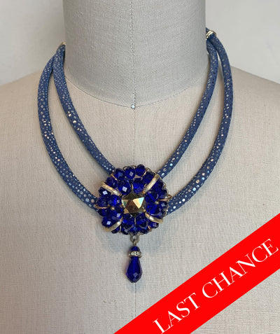 Dramatic Gemstone Statement Necklace-Cobalt