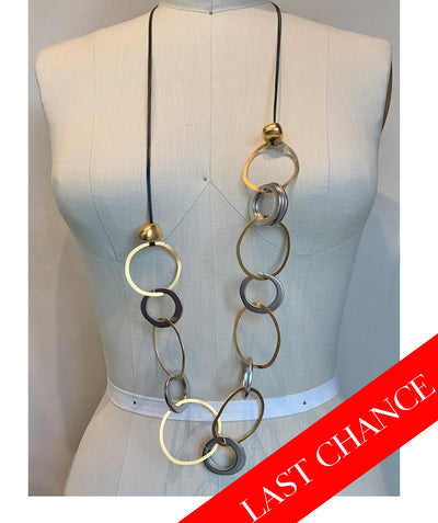 Silver/Gold Mix Brass Rings Necklace