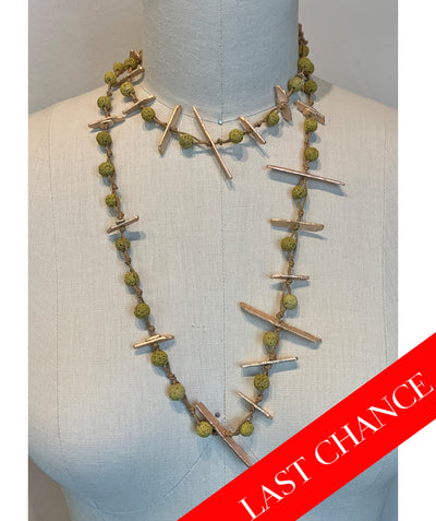 Chartreuse Rosette Bead Necklace