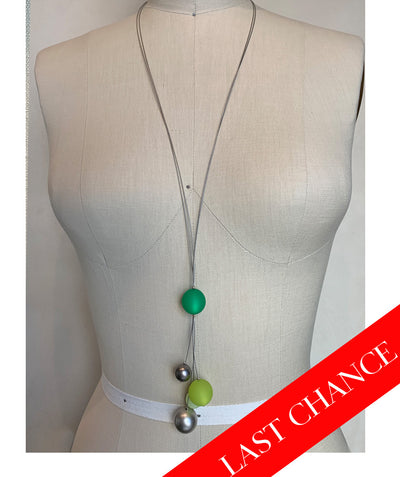 Chunky Green Baubles Long Necklace