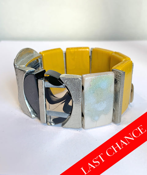 Yellow, Black, and Pewter Bracelet
