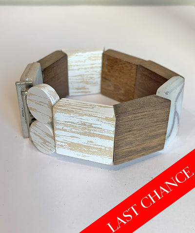 Wood, Ceramic, and Pewter Bracelet