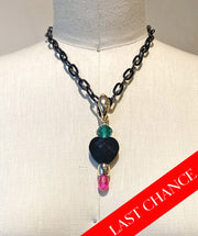 Black Fun Beaded Pendant Necklace