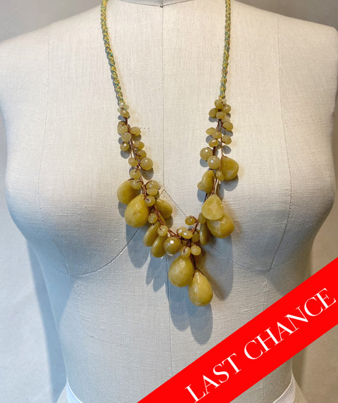 Chartreuse Gemstone Long Necklace