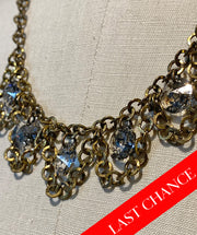 Scalloped Gold and Crystal Necklace