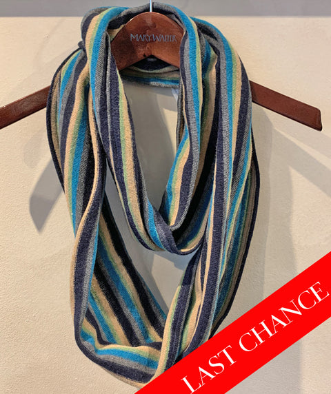 Turquoise Striped Scarf