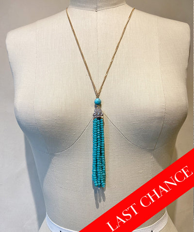 Turquoise and Crystal Long Tassel Necklace