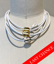 Gold/Silver Accented White Leather Necklace