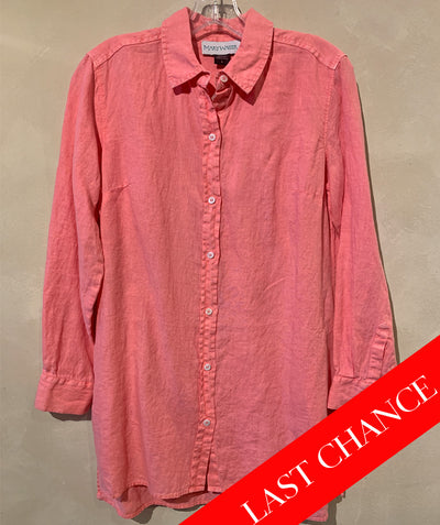 Coral Linen Button Down Shirt