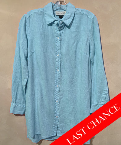 Aqua Linen Button Down Shirt
