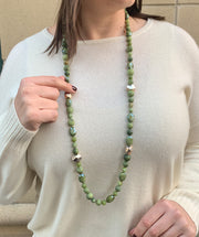 Green Gems and Sterling Nuggets Necklace