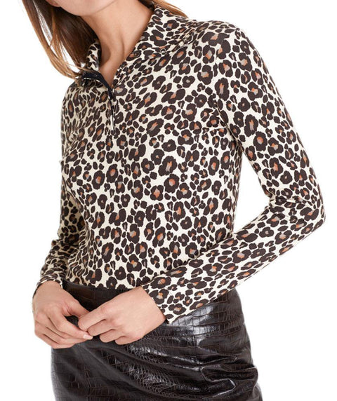 Snap neck leopard turtleneck - Mary Walter