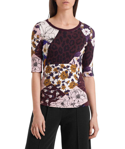 Mixed print tee wine - Mary Walter