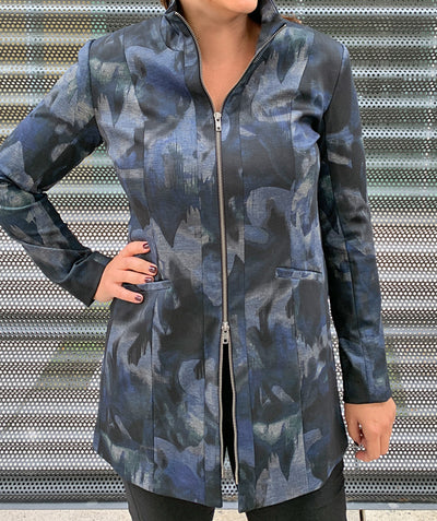 Blue Abstract Zip Blazer