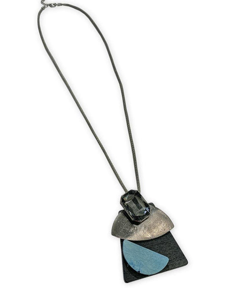 Abstract layered long necklace Blue - Mary Walter