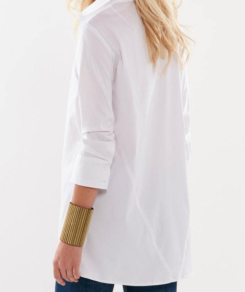 3/4 sleeve trapeze shirt White