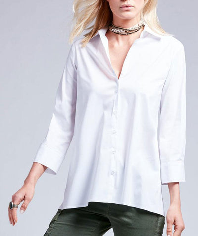 3/4 sleeve trapeze shirt White - Mary Walter