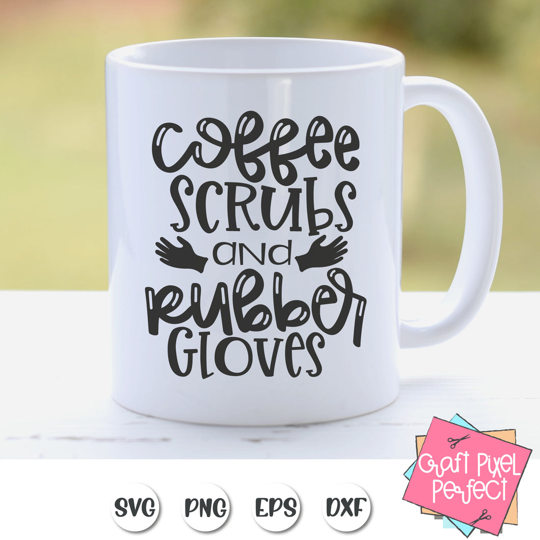 Coffee Scrubs And Rubber Gloves Svg