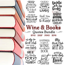 Load image into Gallery viewer, Wine & Books Svg Bundle