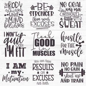 Workout Bundle Quotes Svg