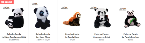 Collection Peluches Pandas
