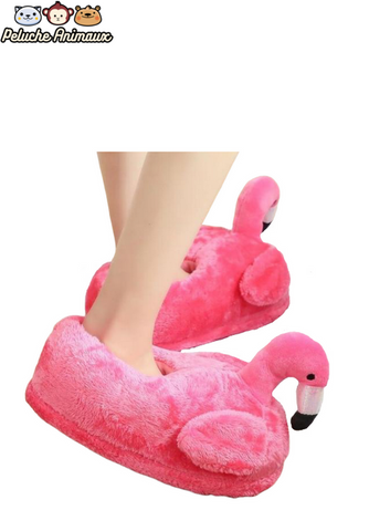 Peluche Flamant Rose Pantoufles Rose Flashy