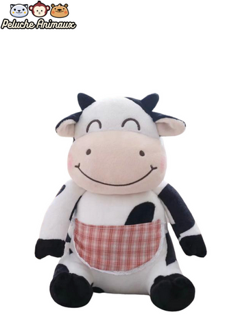Peluche Vache Grosse Mangeuse Grand Tablier Rose