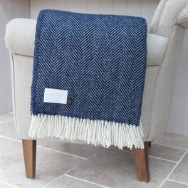 Navy And Cream Herringbone Wool Throw