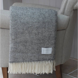Natural Grey Herringbone Wool Throw