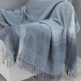 Grey Merino & Cashmere Wool Throw Charcoal Grey