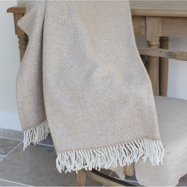Luxury Beige Herringbone Merino And Cashmere Wool Throw