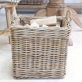 Lined Rattan Storage Basket