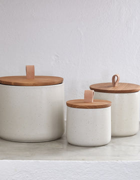 Round Oak And Stoneware Storage Canister