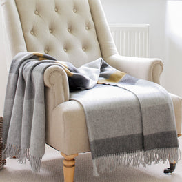 Grey And Ochre Stripe Merino Lambswool Throw