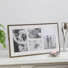 4 Aperture Long Silver Plated Fine Photo Frame