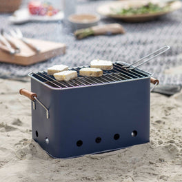 Rectangle Steel Blue Portable BBQ