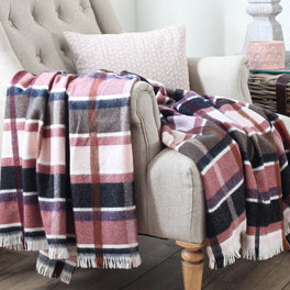 Dusky Pink Check Wool Throw