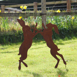 Rusty Decorative Boxing Hares
