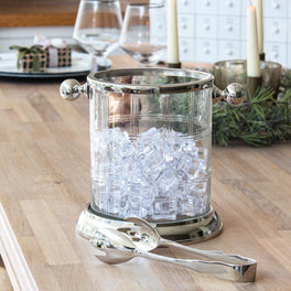 Etched Ice Bucket With Tongs